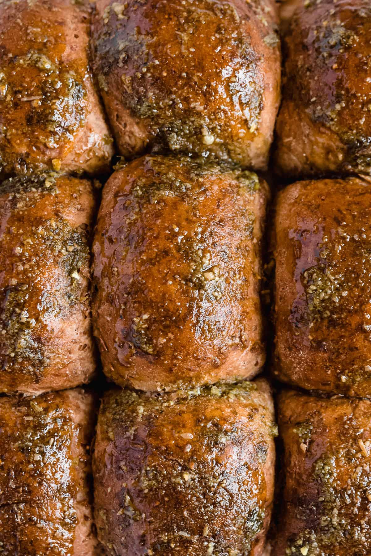 Overhead image of freshly baked Pesto Chicken Sliders.