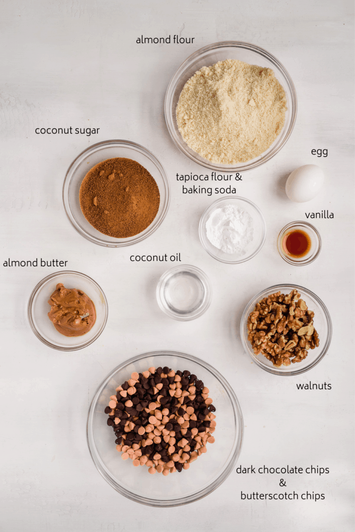 Photograph of ingredients included in this recipe for Butterscotch Walnut Dark Chocolate Chip Cookies.