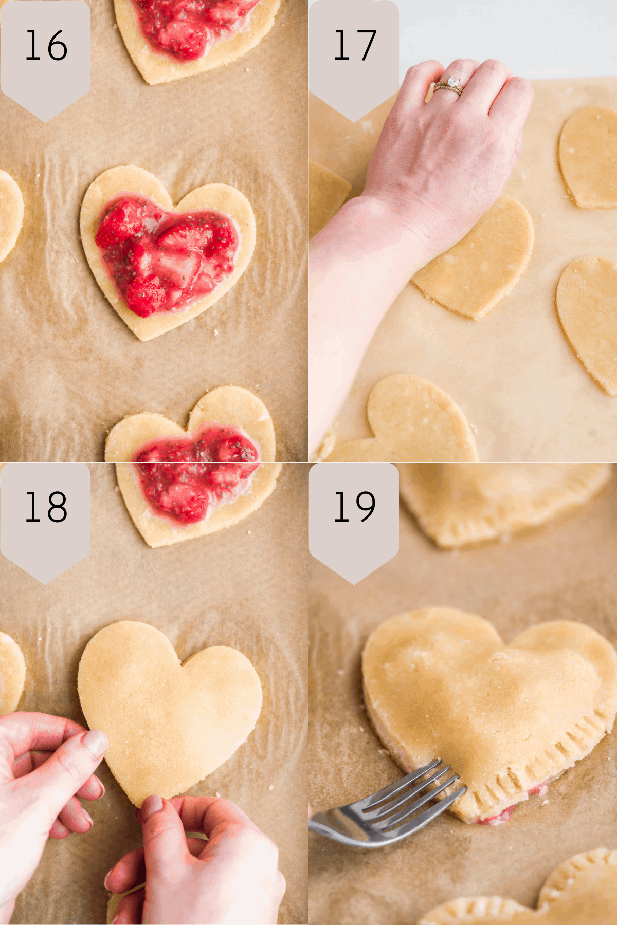 Collage of images filling the heart shaped dough with strawberry filling.