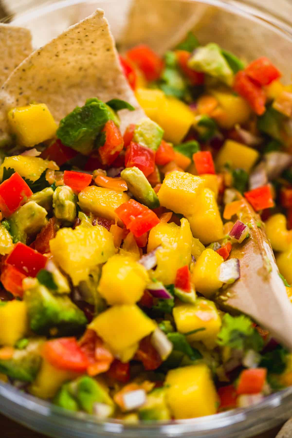 Up close view of mango salsa with avocados and pepper.