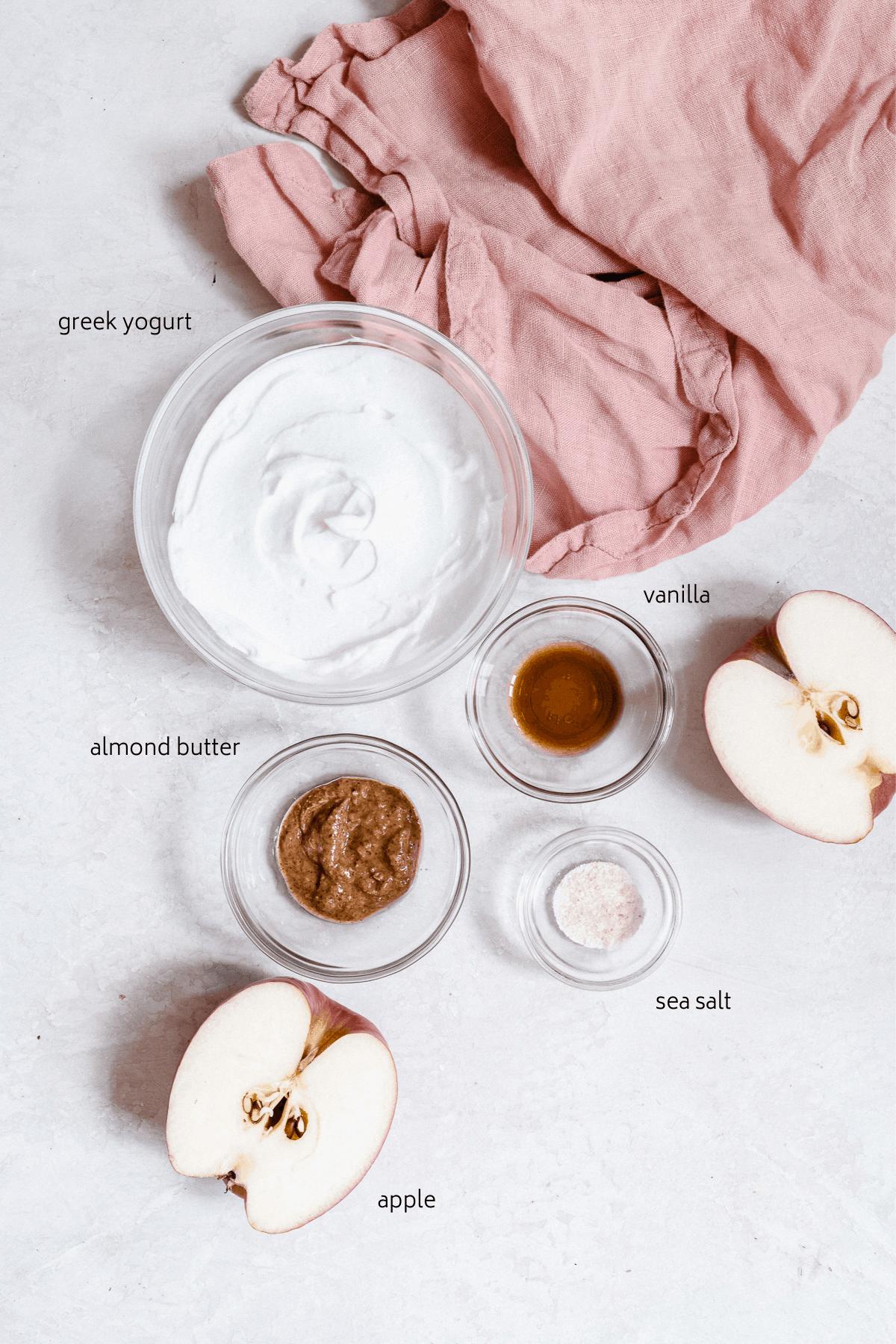 Ingredients for a greek yogurt dip recipe with labels.